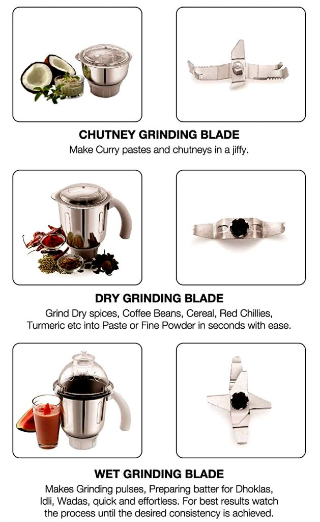 chutney dry and wet grinding blades