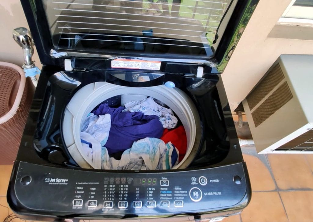 clothes in LG washing machine