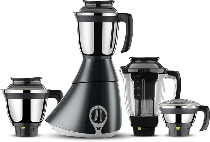 Butterfly Matchless Mixer Grinder, 750W, 4 Jars (Grey White)